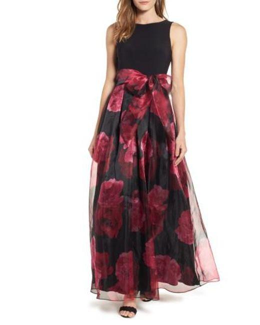 Eliza J   Red Jersey & Organza Ballgown   Lyst