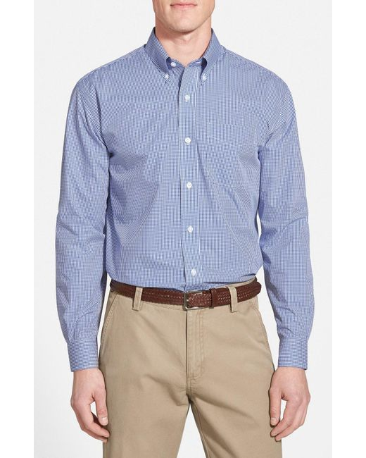 Cutter & Buck - Blue Epic Easy Care Classic Fit Wrinkle Free Gingham Sport Shirt for Men - Lyst