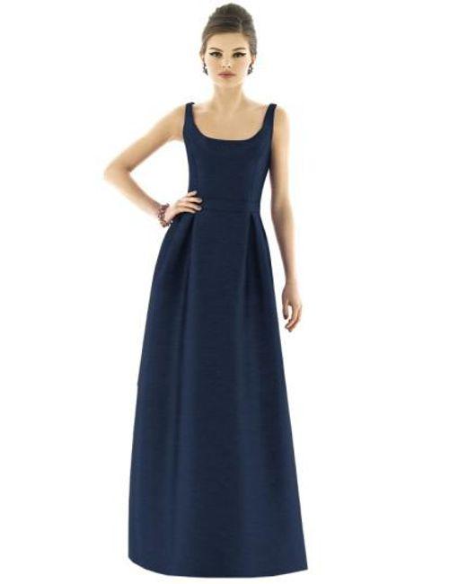 Alfred Sung | Blue Scoop-Neck Dupioni Full-Length Dress | Lyst