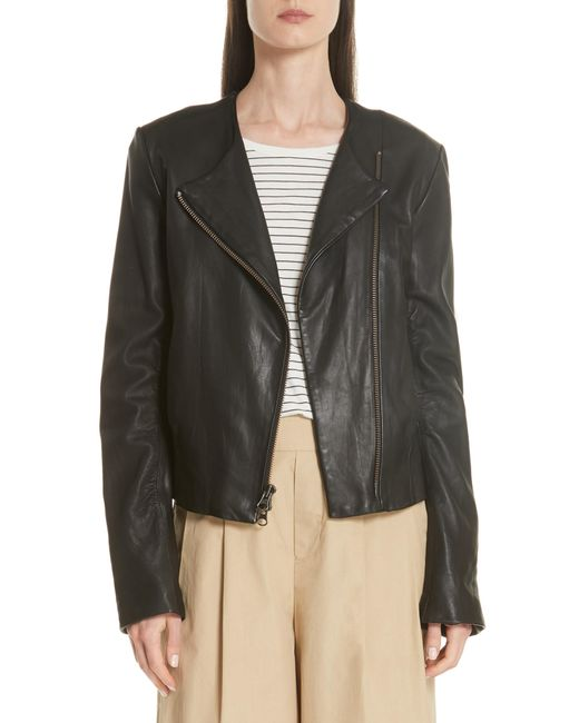 Vince - Brown Zip Cross Front Leather Jacket - Lyst