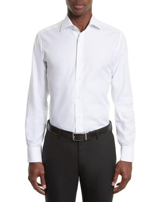 Canali | White Regular Fit Solid Dress Shirt for Men | Lyst