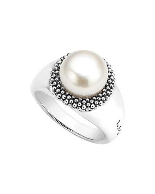 Lagos | Metallic 'luna' Large Pearl Ring | Lyst