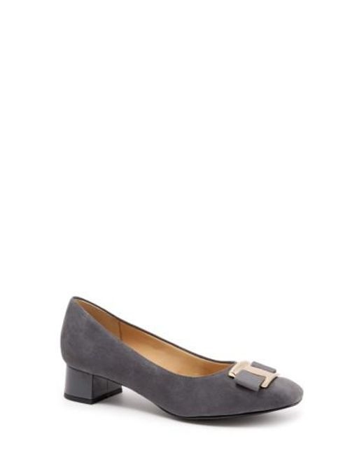 Trotters | Gray 'louise' Block Heel Pump | Lyst