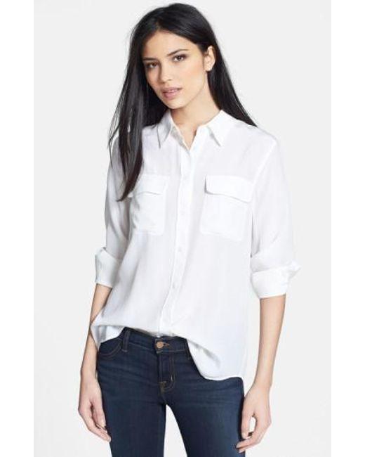Equipment   White 'slim Signature' Silk Shirt   Lyst