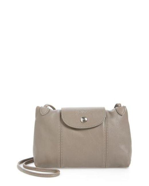 Longchamp - Gray Le Pliage Cuir Bag - Lyst
