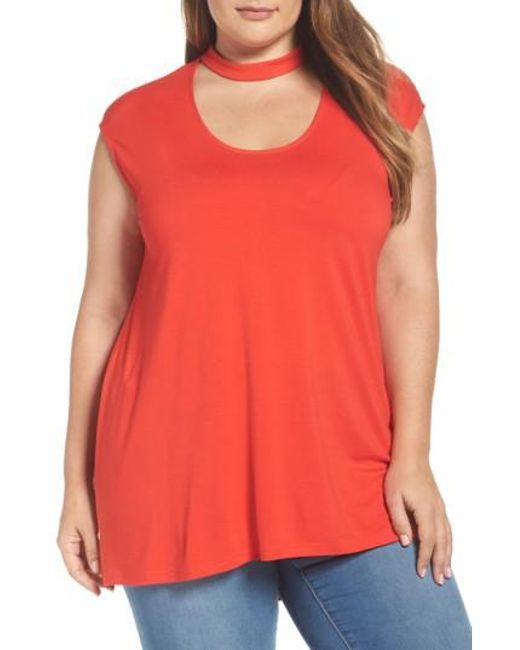 Vince Camuto | Red Mock Choker High/low Blouse | Lyst