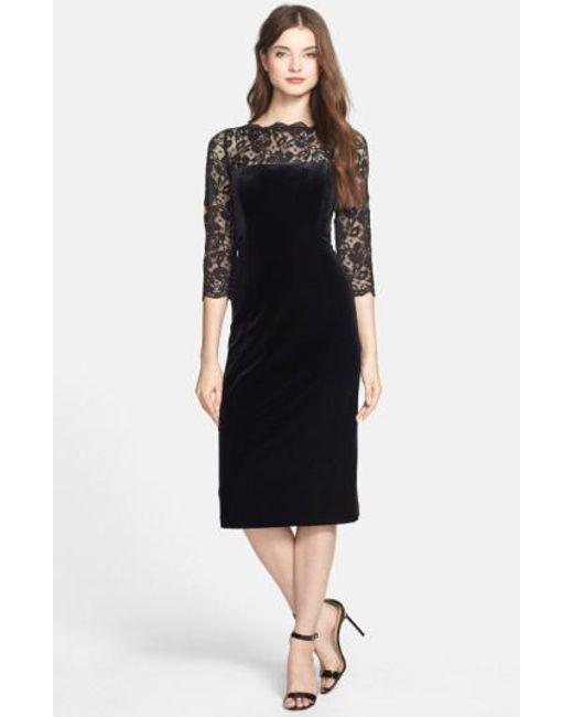 Eliza J   Black Lace & Velvet Sheath Dress   Lyst