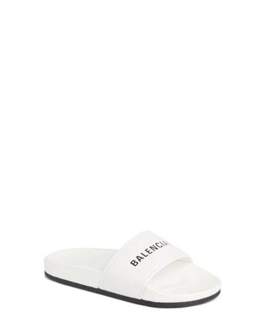 Balenciaga - White Logo Slide Sandal - Lyst