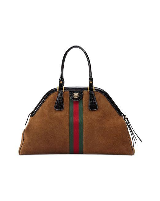 75f8487e3a2 ... Gucci - Women s Borsa Linea Medium Top Handle Leather Tote - Blue - Lyst