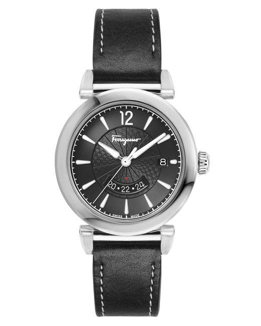Ferragamo - Metallic Feroni Leather Strap Watch for Men - Lyst