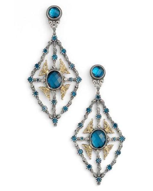 Konstantino Metallic Thalassa Blue Topaz Kite Chandelier Earrings Lyst