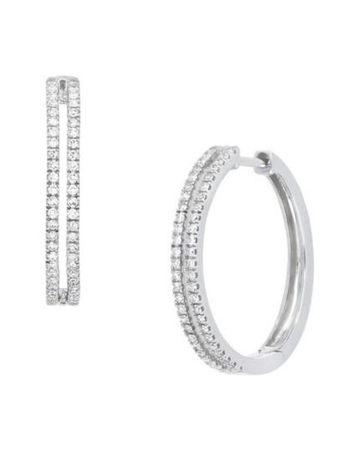 CARRIERE JEWELRY - Metallic Carriere Double Row Diamond Hoop Earrings (nordstrom Exclusive) - Lyst