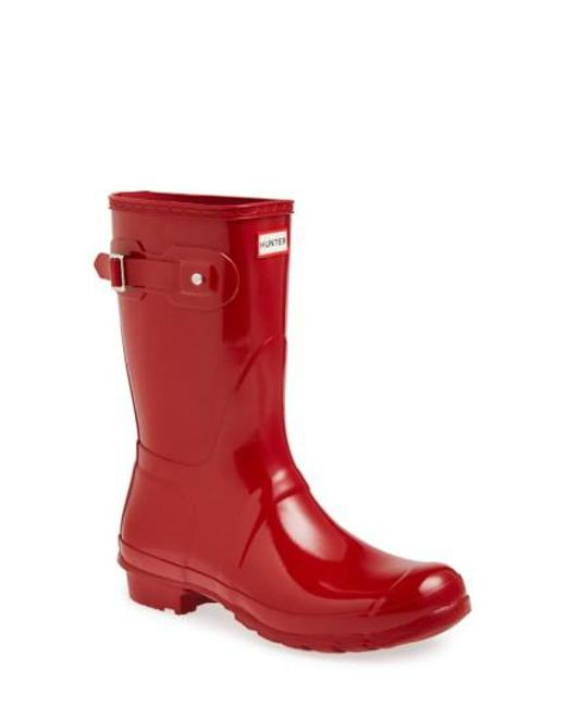 Hunter - Red 'original Short' Gloss Rain Boot - Lyst
