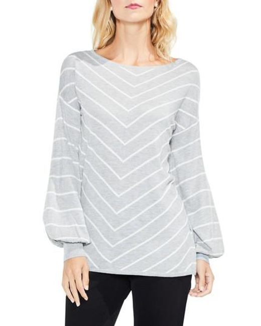 Vince Camuto | Gray Long Sleeve Chevron Intarsia Sweater | Lyst