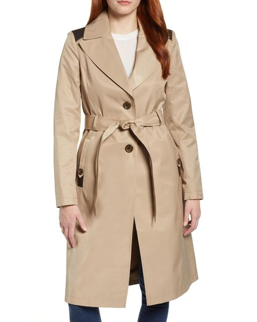 Via Spiga - Natural Faux Leather Trim Trench Coat - Lyst