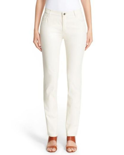 Lafayette 148 New York - Natural Waxed Denim Slim Leg Jeans - Lyst