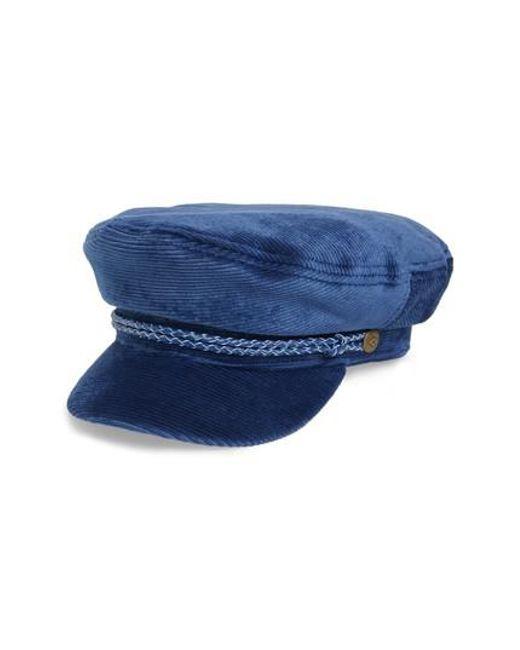 Brixton - Blue Fiddler Corduroy Baker Boy Cap for Men - Lyst