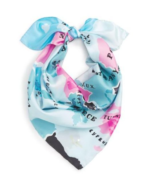 Kate Spade | Blue 'going Places' Silk Scarf | Lyst