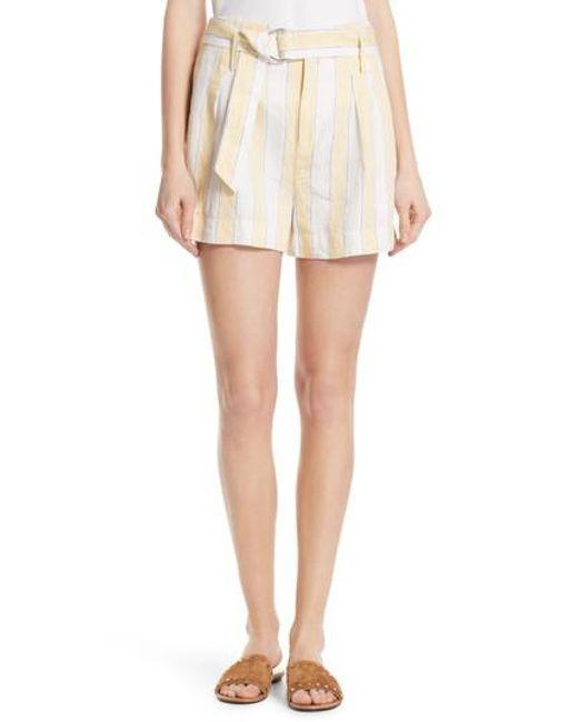 FRAME - Multicolor Belted Stripe Linen Shorts - Lyst