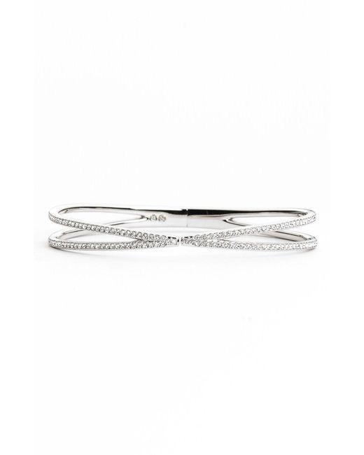 Nadri - Metallic Pave Hinged Crossover Bracelet (nordstrom Exclusive) - Lyst