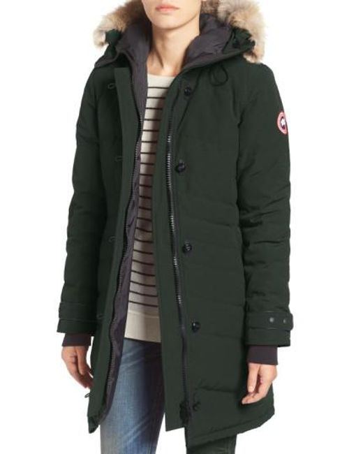 Canada Goose | Green 'lorette' Hooded Down Parka With Genuine Coyote Fur Trim | Lyst