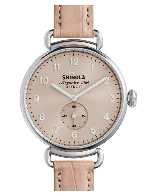 Shinola - Natural The Canfield Alligator Strap Watch - Lyst