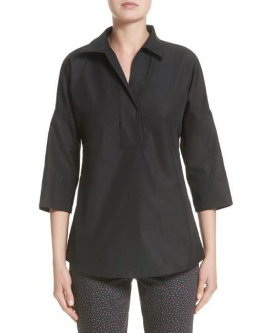 Akris Punto - Black Cotton Poplin Tunic - Lyst