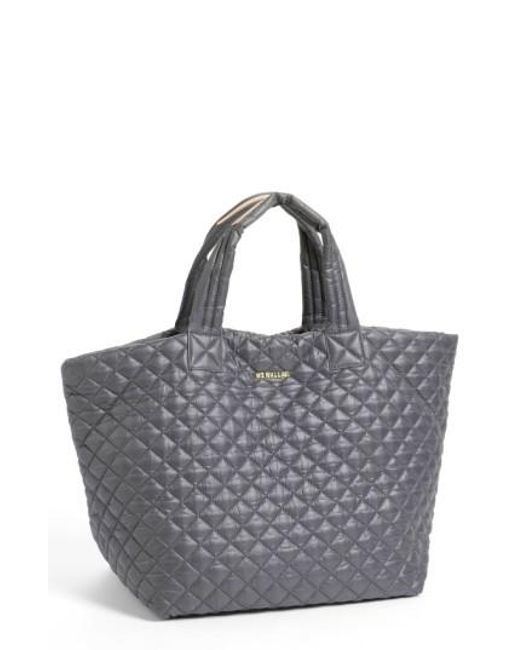 MZ Wallace - Gray 'large Metro' Quilted Oxford Nylon Tote - Lyst
