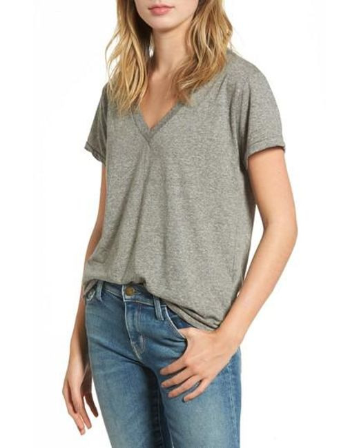 Current/Elliott - Gray 'the V-neck' Tee - Lyst