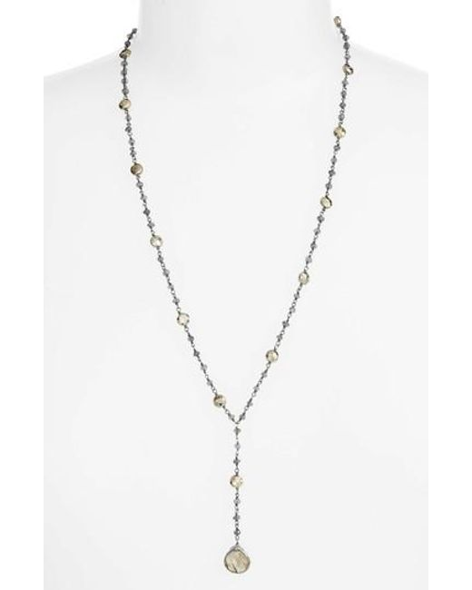 Ela Rae | Metallic Yaeli Satellite 24 Semiprecious Stone Y-necklace | Lyst