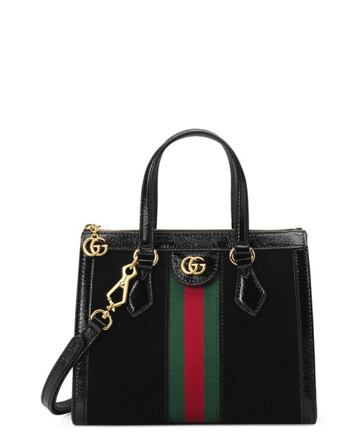 2d7a1f08207c Gucci - Black Small Ophidia House Web Suede Satchel - - Lyst ...