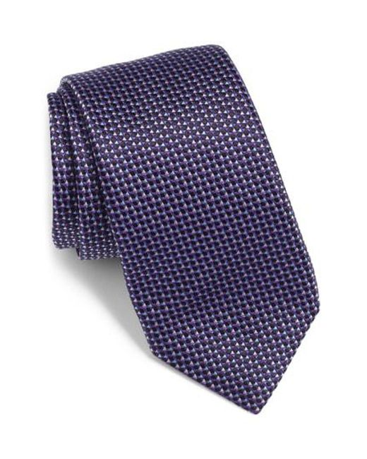 BOSS - Purple Textured Silk Tie for Men - Lyst