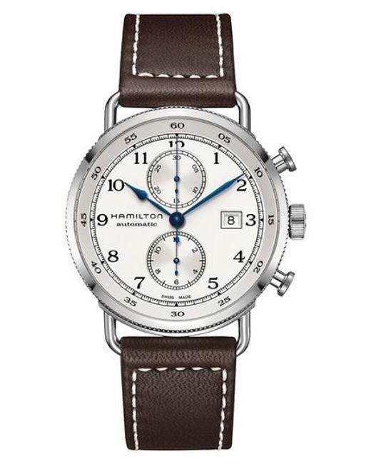 Hamilton - Metallic Khaki Navy Automatic Chronograph Leather Strap Watch for Men - Lyst