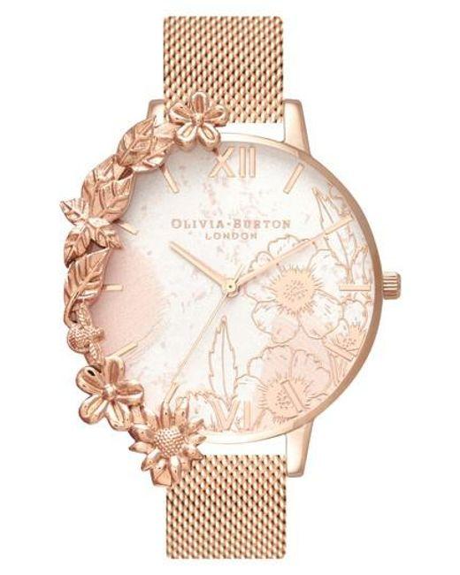 Olivia Burton - Multicolor Case Cuff Mesh Strap Watch - Lyst