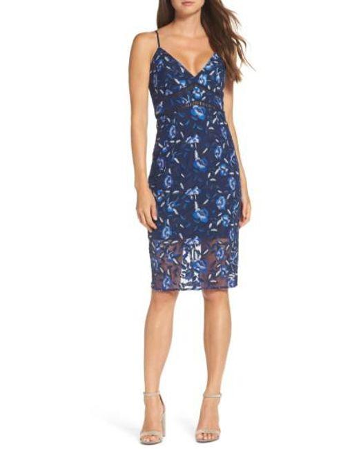 Bardot   Blue Sapphire Lace Pencil Dress   Lyst