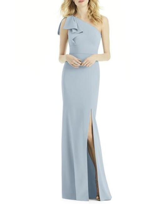 After Six | Blue Bow One-shoulder Gown | Lyst