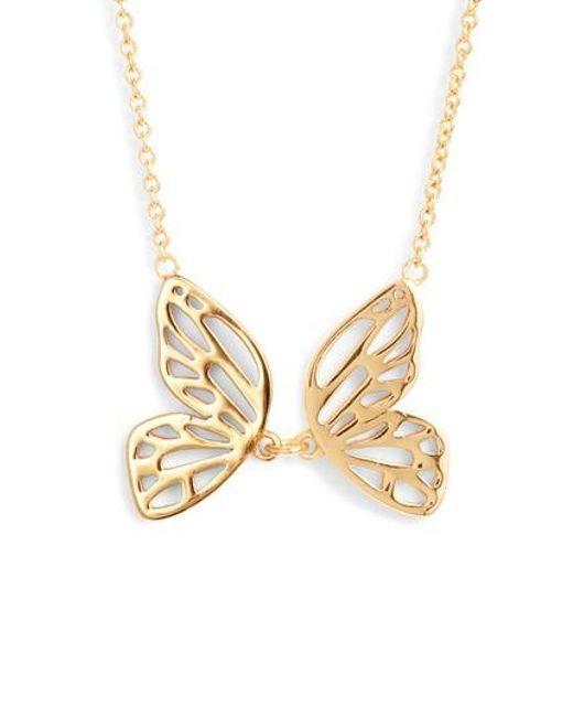 Olivia Burton - Metallic Butterfly Pendant Necklace - Lyst