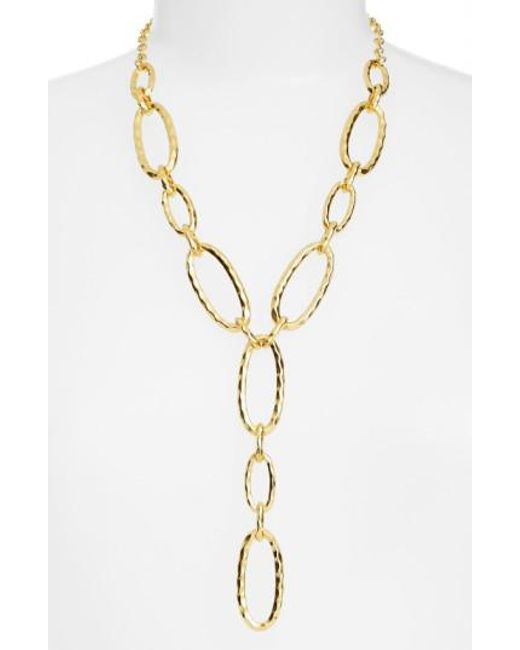 Karine Sultan | Metallic Link Y-necklace | Lyst