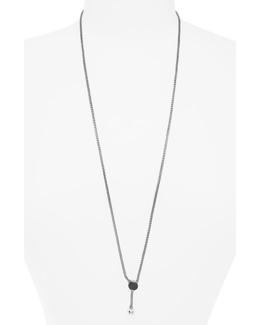 John Hardy - Metallic Classic Chain Black Sapphire Pave Lariat Necklace - Lyst