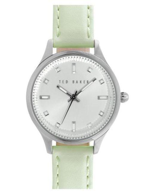 Ted Baker | Green 'dress Sport' Leather Strap Watch | Lyst