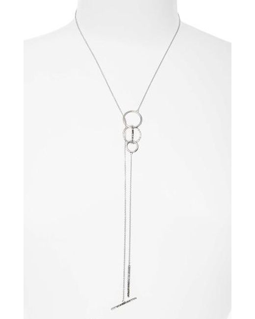 Judith Jack | Metallic Silver Sparkle Lariat Necklace | Lyst