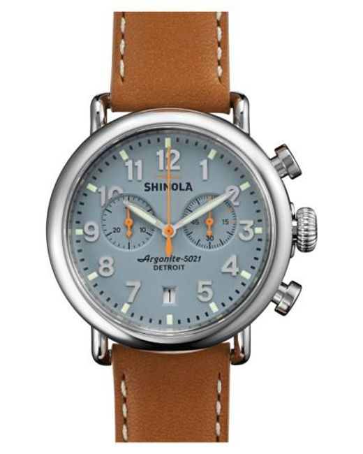 Shinola | Metallic 'the Runwell Chrono' Leather Strap Watch for Men | Lyst