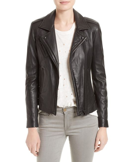 IRO - Black 'han' Lambskin Leather Moto Jacket - Lyst