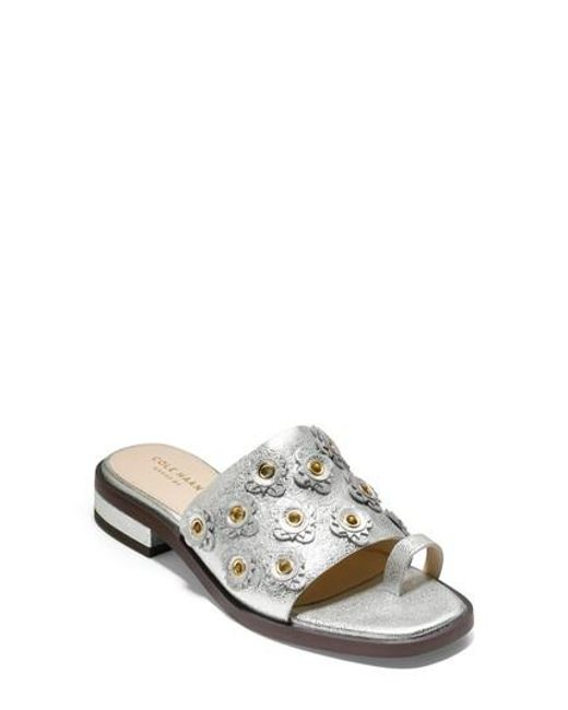Cole Haan - Metallic Carly Floral Sandal - Lyst