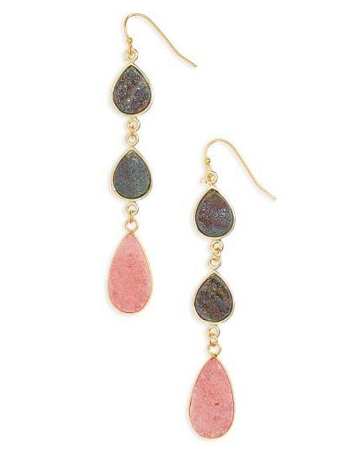 Panacea | Pink Drusy Linear Earrings | Lyst