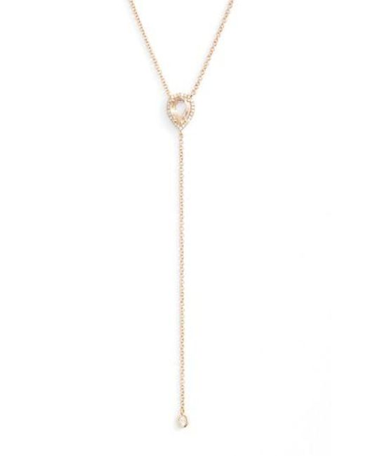 EF Collection | Metallic Teardrop Diamond Y-necklace | Lyst