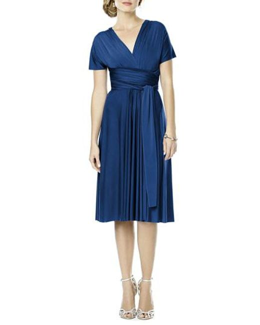 Dessy Collection - Blue Convertible Wrap Tie Surplice Jersey Dress - Lyst