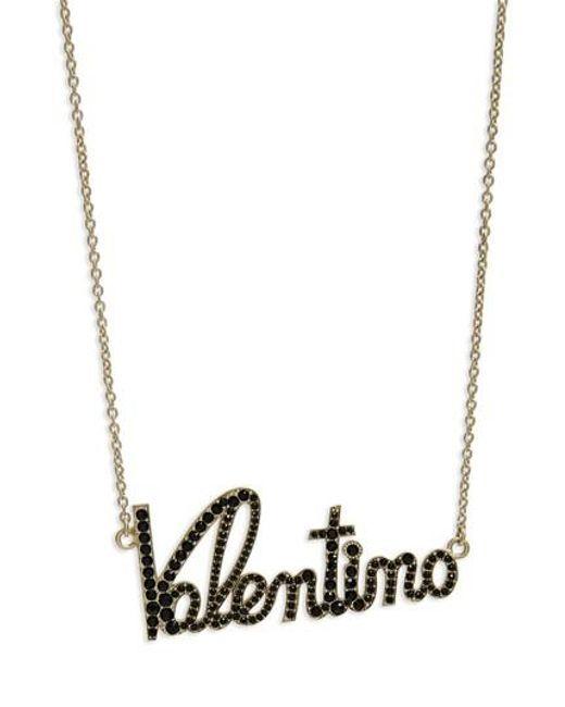 Valentino - Black Crystal Logo Statement Necklace - Lyst