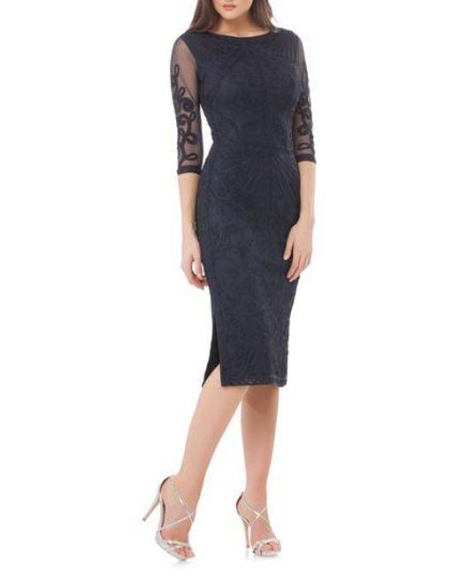 JS Collections - Blue Sheer Sleeve Soutache Sheath Dress - Lyst