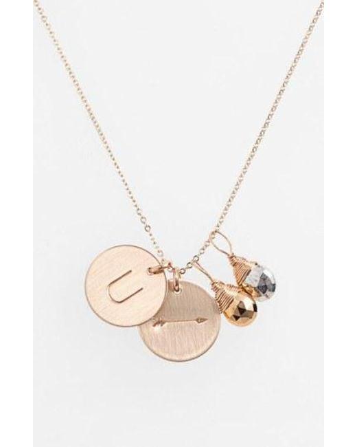 Nashelle - Metallic Pyrite Initial & Arrow 14k-gold Fill Disc Necklace - Lyst